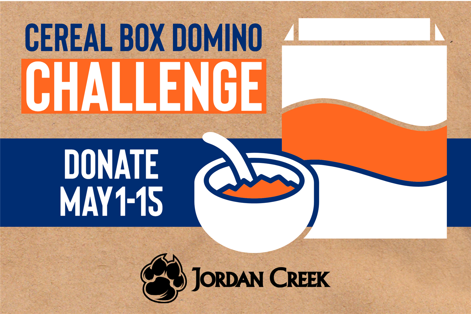 Jordan Creek Elementary Cereal Box Domino Challenge graphic.