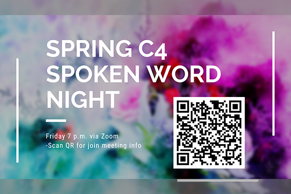 Spring C4 Spoken Word Night graphic with QR code.